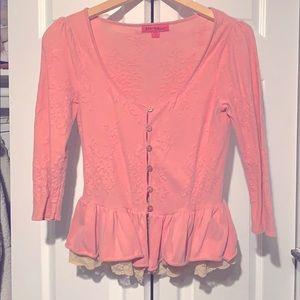 Betsey Johnson Pink Peplum Lace Sweater